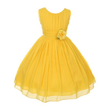Good Girl Girls Yellow Floral Chiffon Junior Bridesmaid Easter Dress (Good People To Dress Up As)