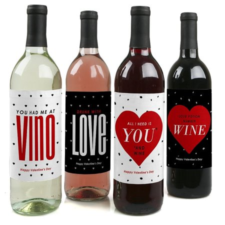 Valentine's Day - Party Decorations for Women and Men - Wine Bottle Label Stickers - Set of 4](Vintage Valentine Decorations)