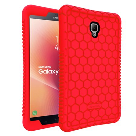 Anti Shock Light - For Samsung Galaxy Tab A 8.0 2017 Case, [Anti Slip] [Kids Friendly] Light Weight Shock Proof Silicone Cover, Red