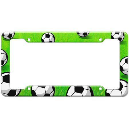 Soccer Ball Grassy Field Pattern License Plate Frame - Walmart.com