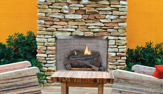 "Superior 36"" Outdoor Fireplace with Electronic Ignition, White Stacked Refractory Panels by Superior Fireplaces"