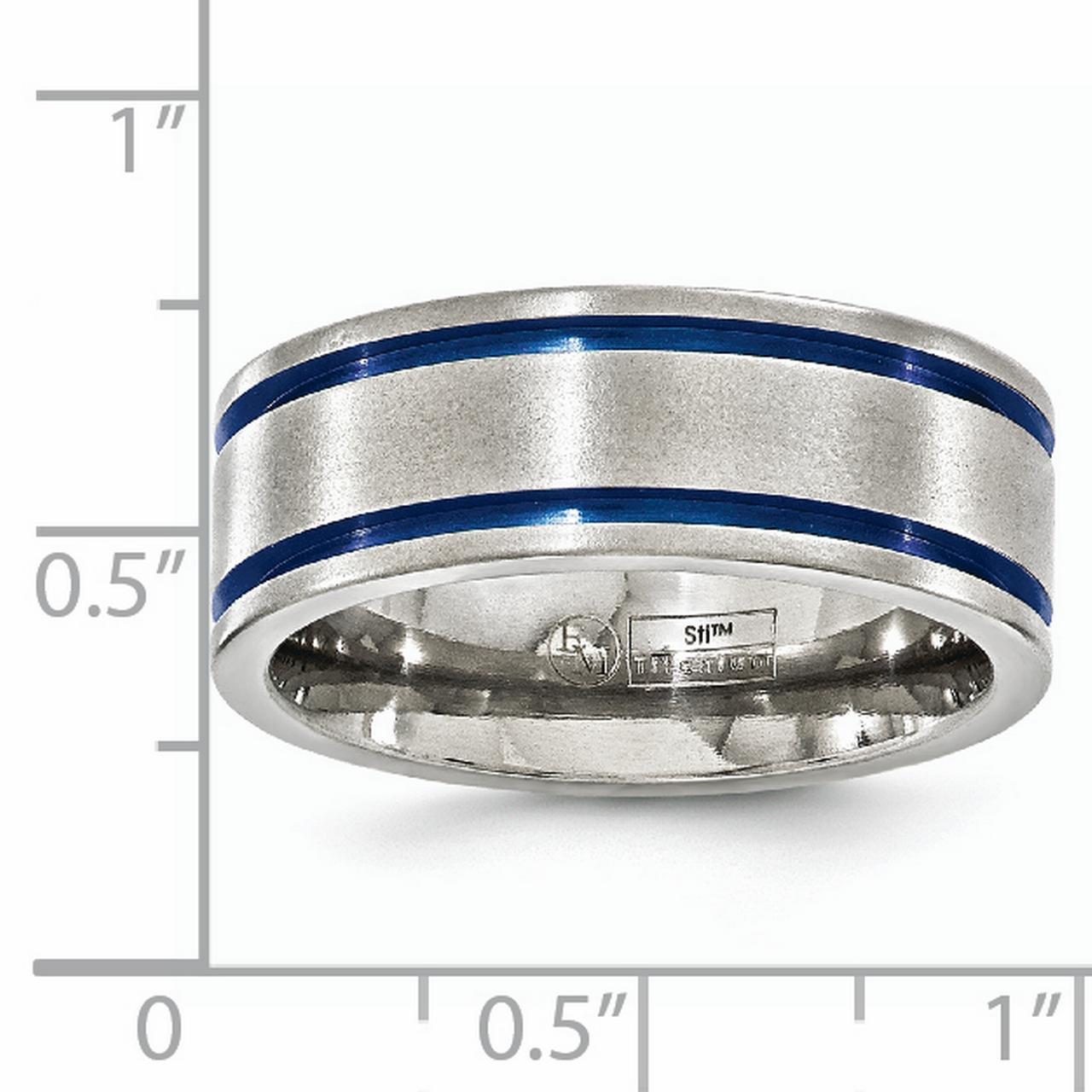 Edward Mirell Titanium Brushed Double Groove Blue Anodized 8mm Wedding Ring Band Size 10.50 Man Classic Flat Fashion Jewelry Gift For Dad Mens For Him - image 5 de 6