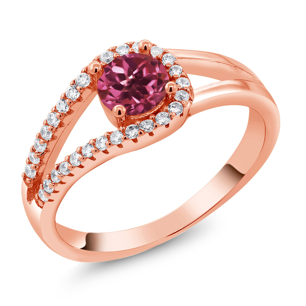 0.85 Ct Round Pink Tourmaline 18K Rose Gold Plated Silver Ring by