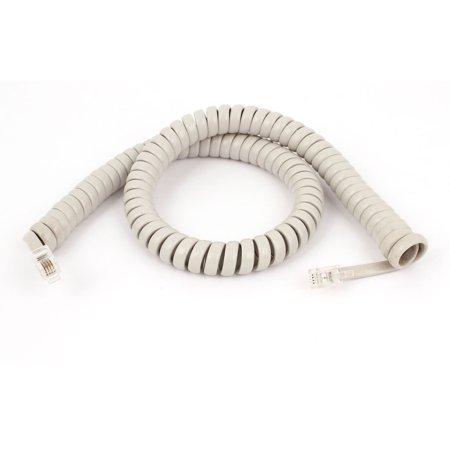 Unique Bargains 48cm 19 Length Elastic RJ11 4P4C Coiled Extension Telephone Cable Cord White
