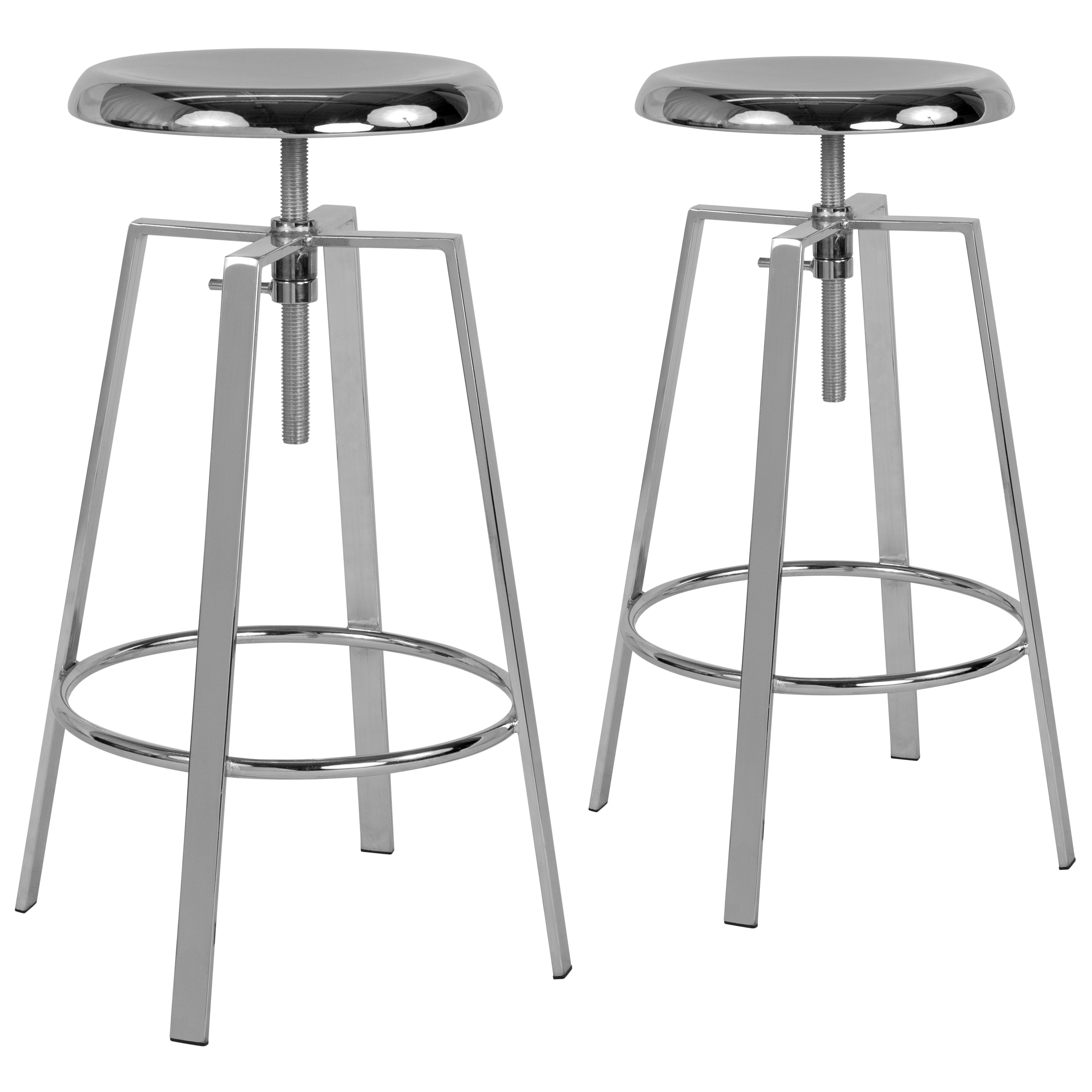 Toledo Flash Furniture 2 Pk. Toledo Industrial Style Barstool with Swivel Lift Adjustable Height Seat in Chrome Finish