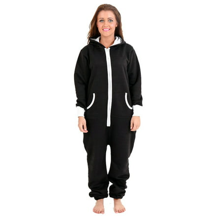 SkylineWears Women's Onesie Playsuit Ladies Jumpsuit Black Small (Adult Dog Onesie)