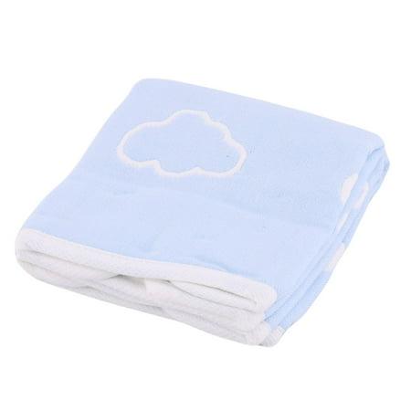 Bathroom Cotton Blends Cloud Print Water Absorbing Face Washing Towel Blue 2pcs - image 4 de 4