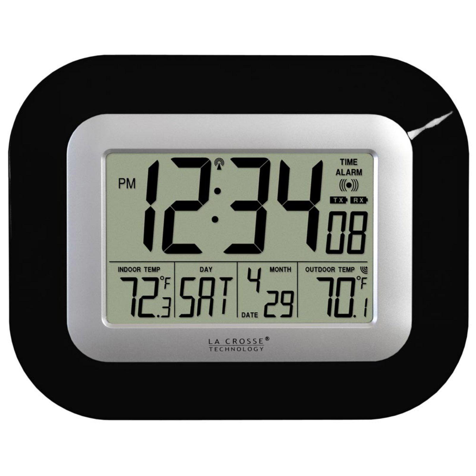 Atomic Digital Wall or Desk Clock (Black) by LaCrosse Technology