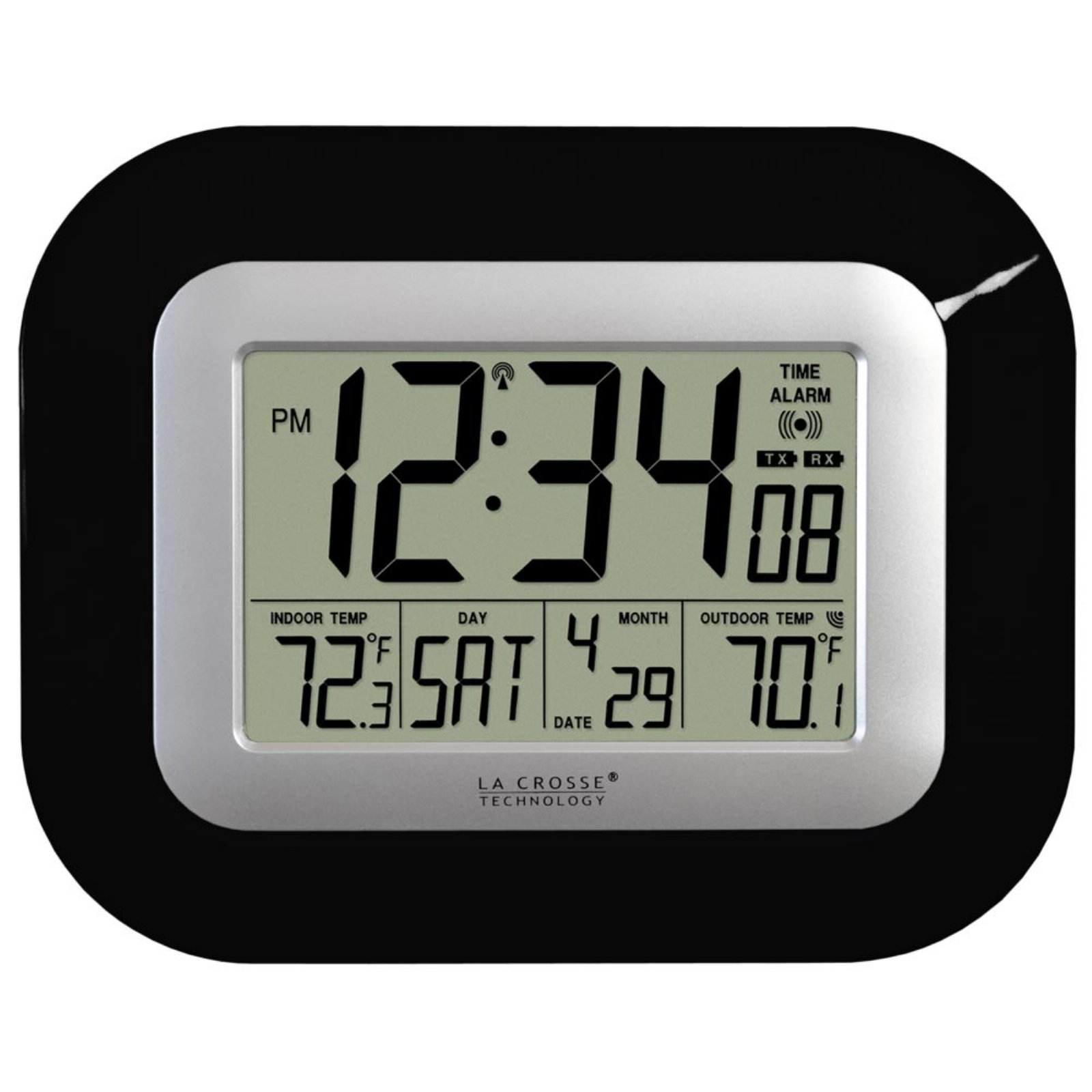 La Crosse Technology WS-8115U-B Atomic Digital Wall Clock with Temperature