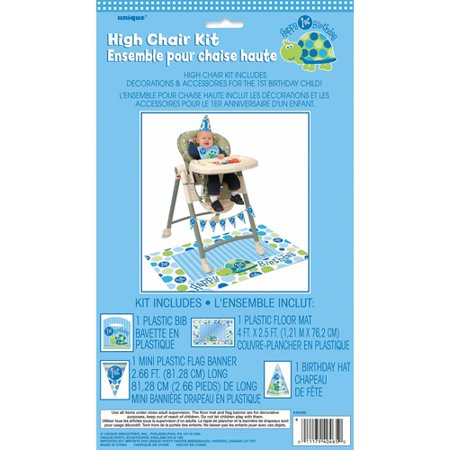 Blue Turtle 1st Birthday High Chair Decorating Kit, 4pc](First Birthday Sign)