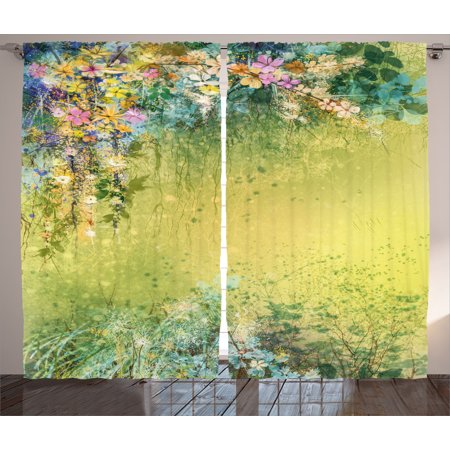 Watercolor Flower Home Decor Curtains 2 Panels Set, Spring Foliage with Leaves Hand Drawn Aesthetic Inspiring Picture, Window Drapes for Living Room Bedroom, 108W X 90L Inches, Green, by Ambesonne