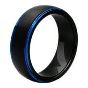 Best Wedding Rings - Men's Tungsten Black and Blue IP Frozen Finish Review