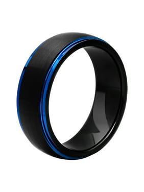 Men's Tungsten Black and Blue IP Frozen Finish Wedding Ring Band