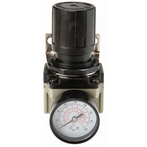125 PSI 1/2 in. NPT Air Flow Regulator with Dial Gauge