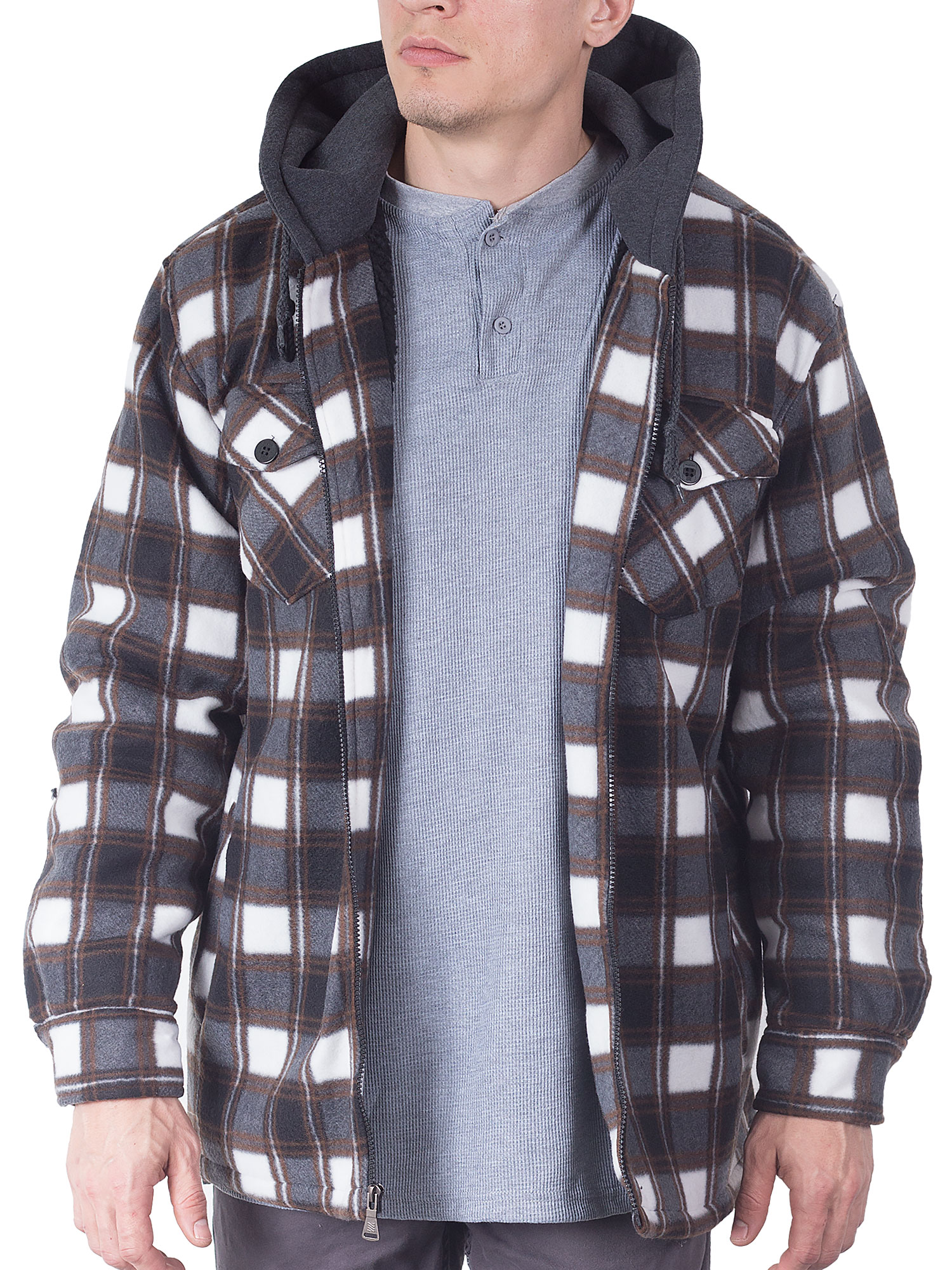 Winter Heavy Warm Sherpa Lined Fleece Plaid Flannel Jacket Men Plus Size S-5XL Big/&Tall Mens Coat