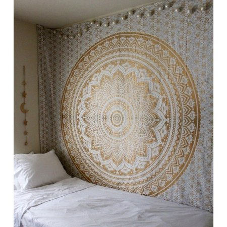 Handicrafts Ombre Tapestry Mandala Tapestries Wall Art Hippie Wall Hanging Bohemian Bedspread With Metallic Shine tapestries (210*150cm) Yellow)](Bohemian Wall Art)