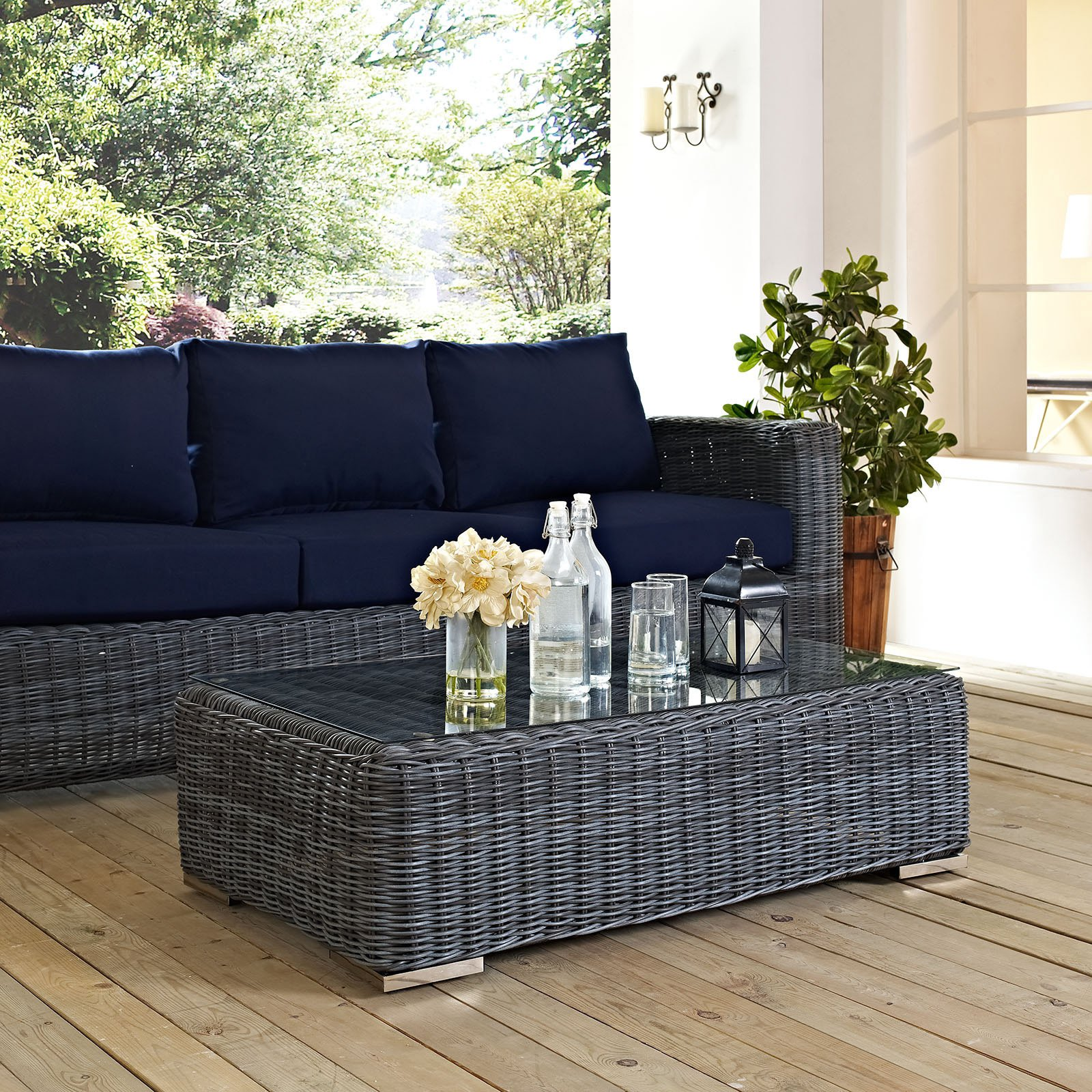 Modway Summon Outdoor Patio Glass Top Coffee Table in Gray by Modway