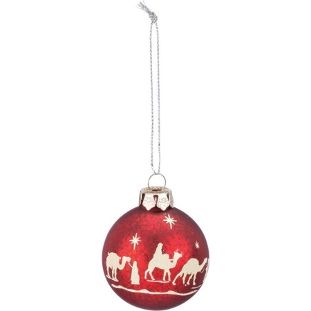 Red Glass Ball NATIVITY Christmas Ornament, 2