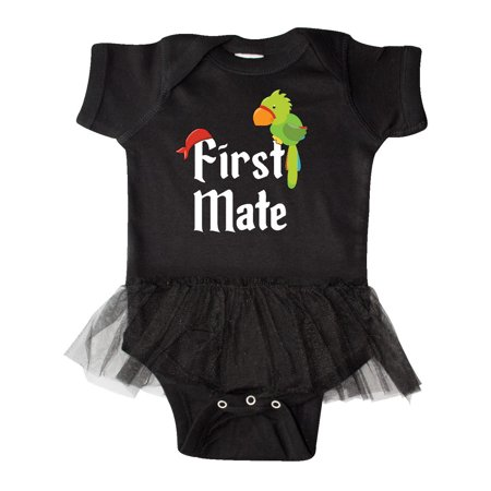 Pirate Funny Infant Bodysuit - First Mate pirate with parrot and bandanna Infant Tutu Bodysuit