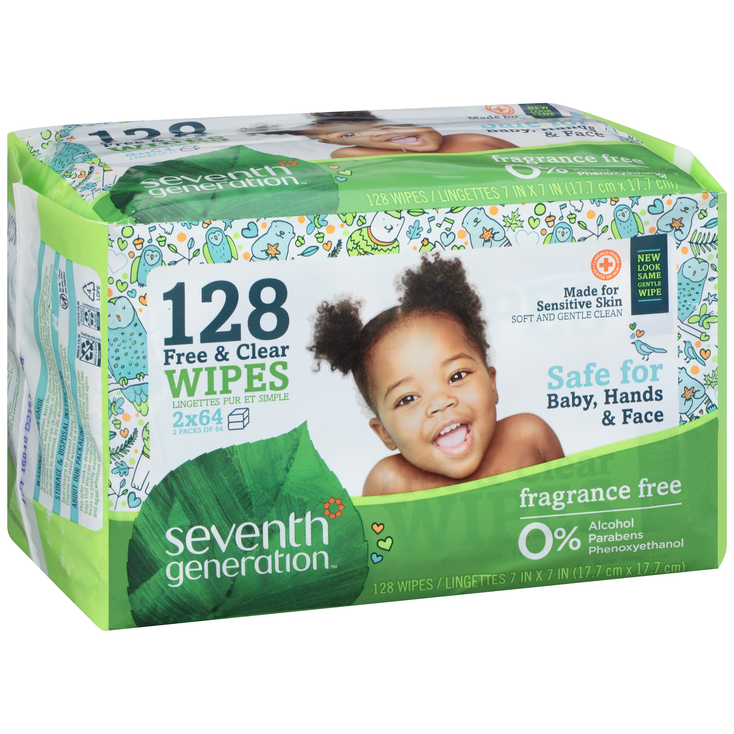 Seventh Generation Baby Free & Clear Wipes Unscented 128 CT by Seventh Generation, Inc.