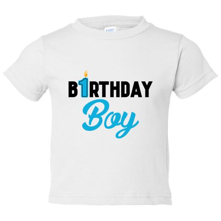 Boys 1 Year Old Birthday Boy Toddler Shirt Candle Funny Threadz Kids White 4T Toddlers