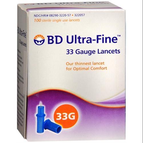 BD Ultra-Fine 33 Gauge Lancets 322057 100 Each (Pack of 3)