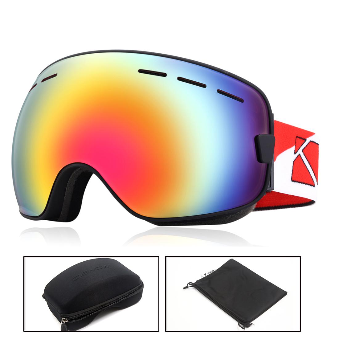O'show Ski Snowmobile Snowboard Goggles Anti-fog UV400 Protect Unisex Glass Bk by