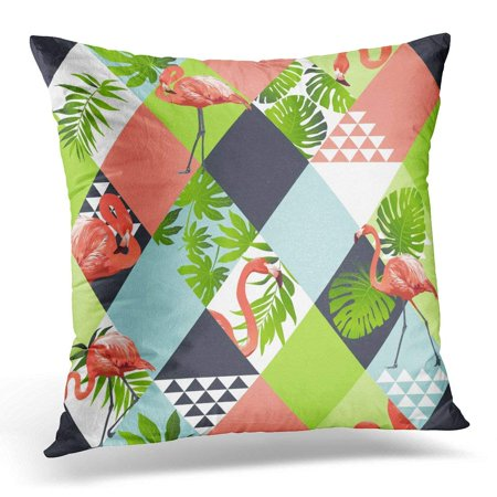 ARHOME Exotic Beach Trendy Patchwork Illustrated Floral Tropical Banana Leaves Jungle Pink Flamingos Mosaic Pillow Case Pillow Cover 20x20 inch