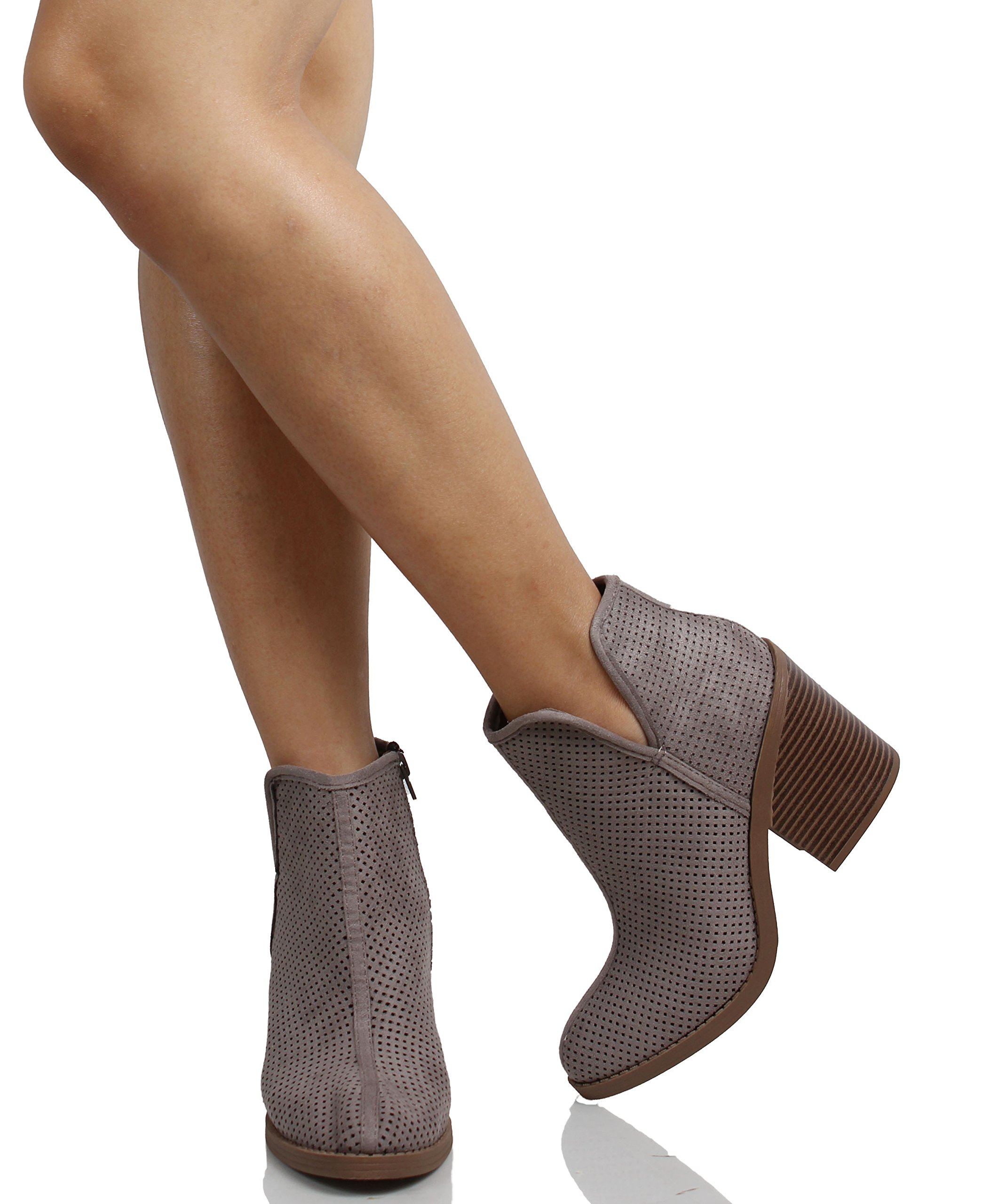 adfa6ffcd MVE Shoes - SodaWomens Tarpon Perforated Stacked Block Heel Ankle Bootie  (Soft Grey, 7.5 B(M) US) - Walmart.com