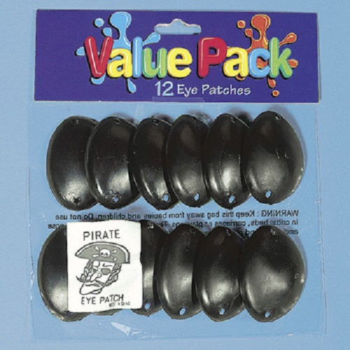 24 Plastic Pirate Eye Patches Black Party Favors Buccaneer Costume Dress Up Fun