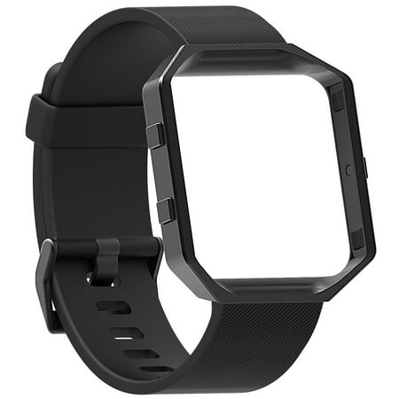 Compatible with Fitbit Blaze Bands, EEEKit Replacement Adjustable Silicone Strap Wrist Band and Stainless Frame Smartwatch Accessory for Fitbit Blaze (Best Band Silicones)