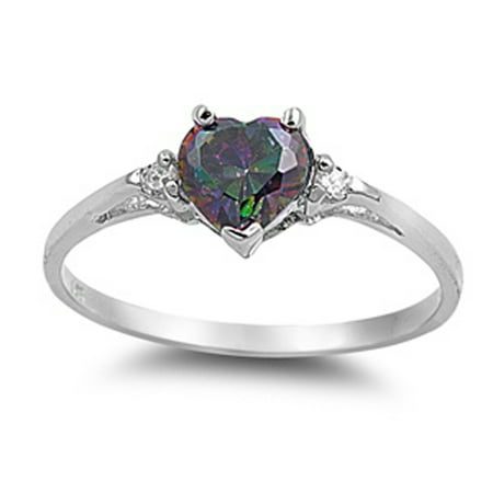 Sterling Silver Women's Flawless Rainbow Simulated Topaz Cubic Zirconia Solitaire Heart Ring (Sizes 3-12) (Ring Size