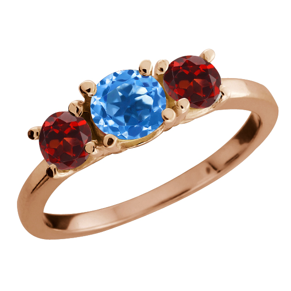 1.34 Ct Round Swiss Blue Topaz and Garnet Gold Plated Sterling Silver Ring