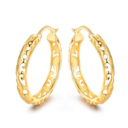 18K Gold Plating Filigree Hoop Earrings Gold Plating Brass
