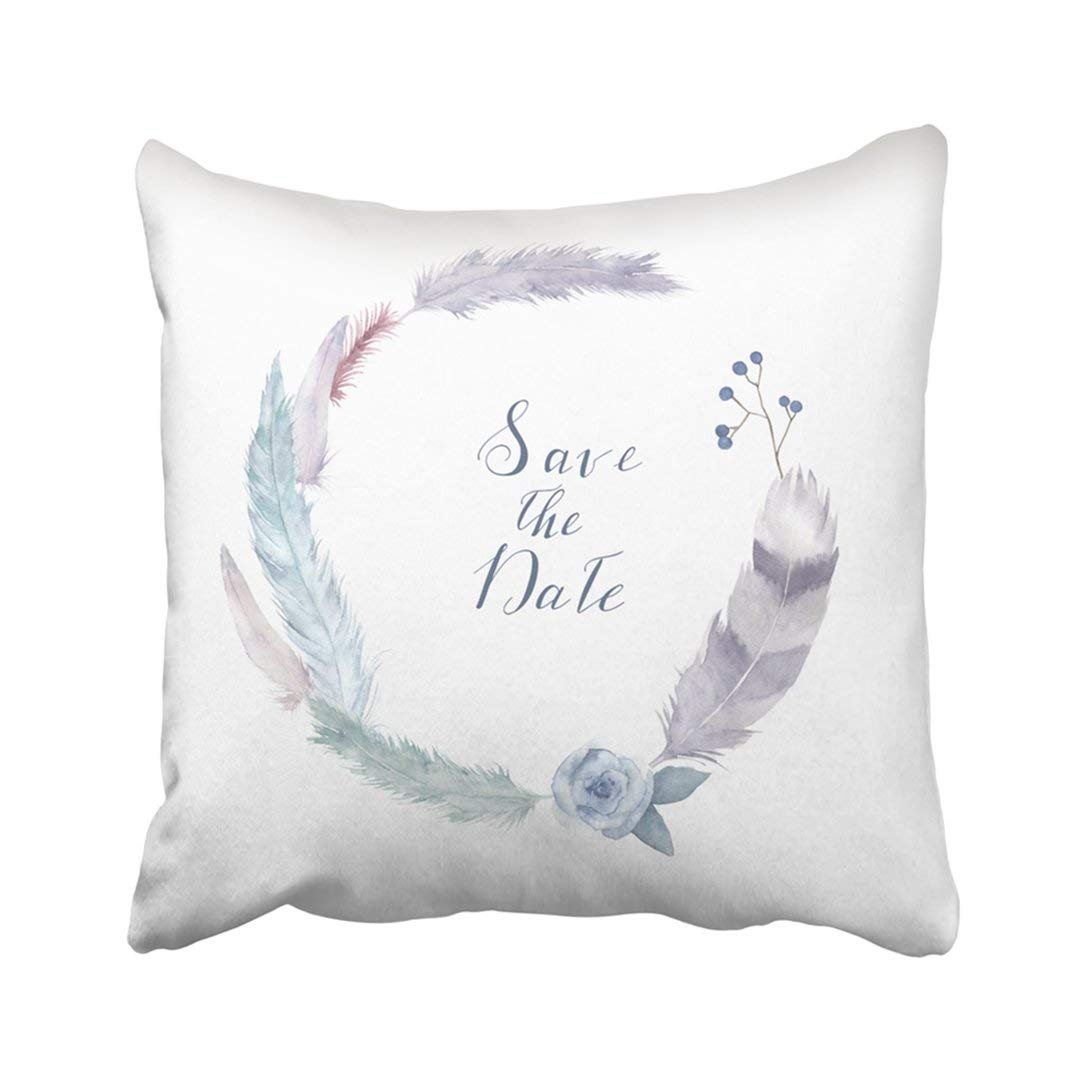 WOPOP Colorful Watercolor Feathers Wreath White Vintage Style Round With Rose Blue Berries Berry Pillowcase Pillow Cover 16x16 inches