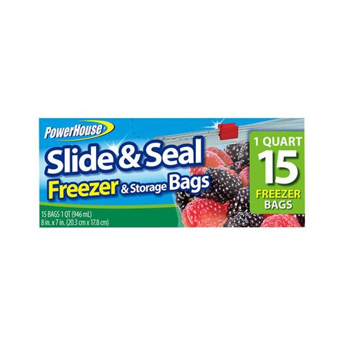 Personal Care Products 92796-4 15 Count Slide & Seal Freezer Storage Bags ? 1 quart (8?x7?)
