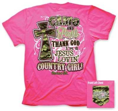 Tee Shirt-Cherished Girl: Camo And Pearls-Large-Hot Pink