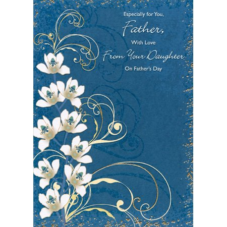 Designer Greetings Father with Love: White Flowers, Gold Swirls on Blue Father's Day Card from