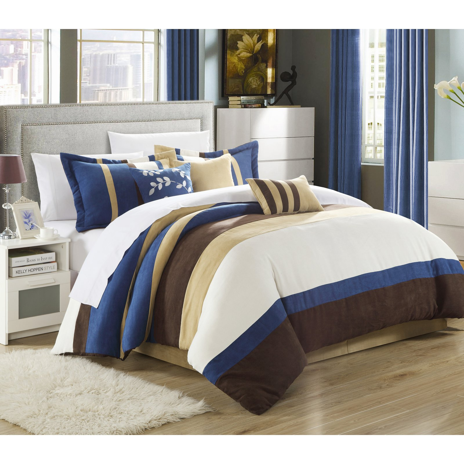 Chic Home Cathy 11 Piece Microsuede Pieced Comforter Set