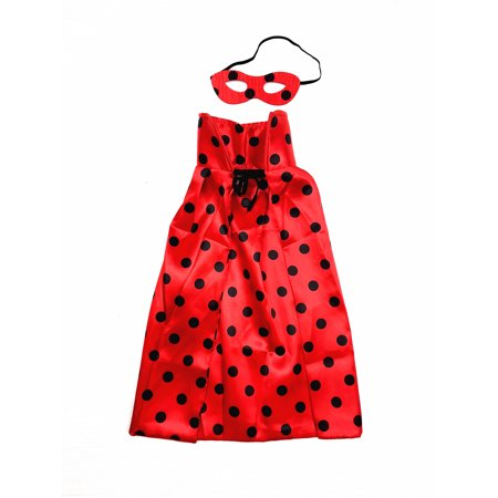 Mozlly Mozlly Set of Polka Dot Red Cape and Mask Hero Costume Eye Mask Size: 5