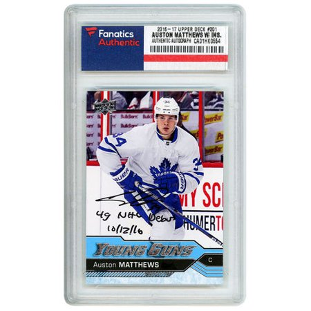 Auston Matthews Toronto Maple Leafs Autographed 2016 17 Upper Deck Young Guns Rookie 201 Card With 4g Nhl Debut 101216 Inscription No Size