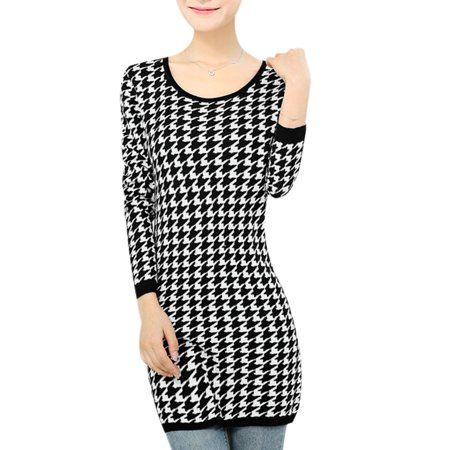 Houndstooth Knitting Pattern In The Round : Allegra K Womens Casual Round Neck Houndstooth Pattern Tunic Knit Top Bl...