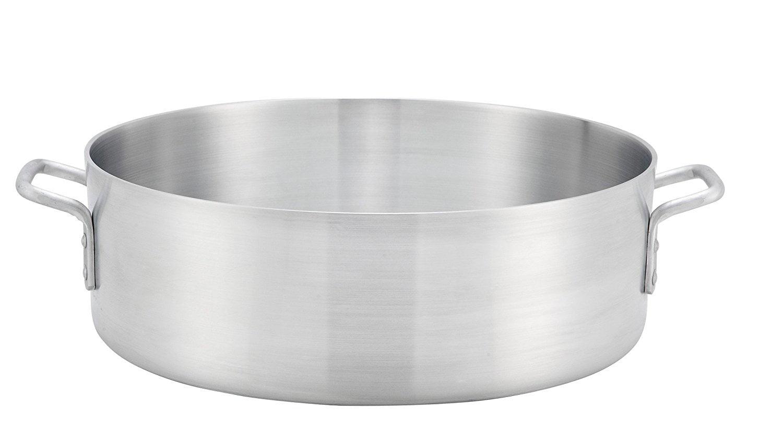 "Winco ALB-18, 18-Quart 15.8"" x 5.5"" Standard Heavy Aluminum Brazier Pan, Heavy-Duty Commercial Grade... by Winco"