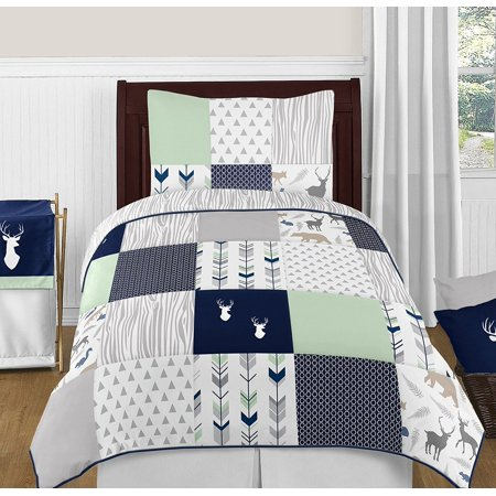 Navy Blue Mint And Grey Woodsy Deer Boys 4 Piece Kids