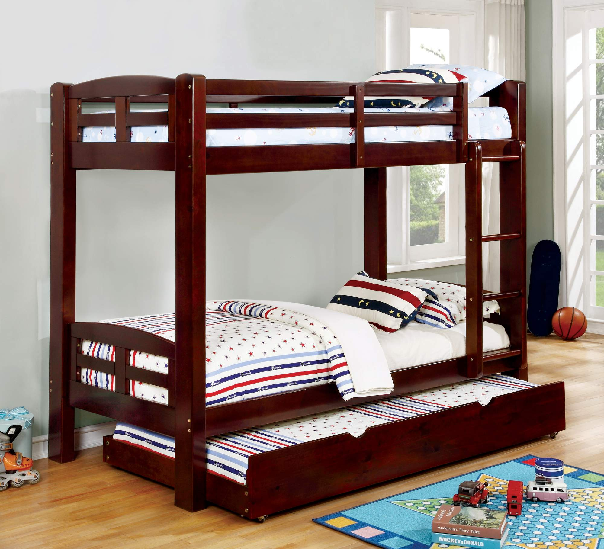 Furniture of America Sophia Twin Over Twin Wooden Bunk Bed, Multiple Colors