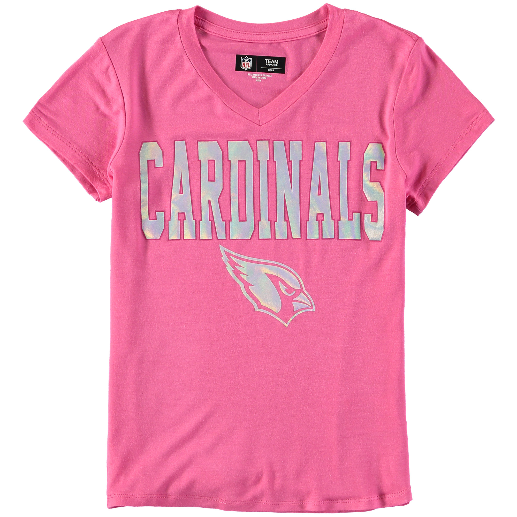 Arizona Cardinals 5th & Ocean by New Era Youth Girls V-Neck T-Shirt - Pink