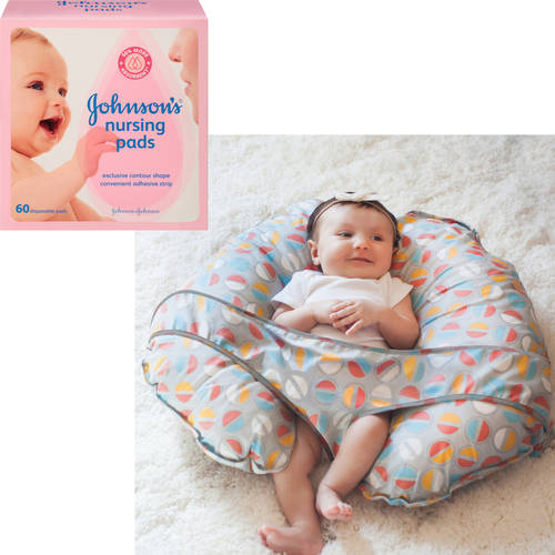 Leachco - Cuddle-U Nursing Pillow and More with Slipcover, Pop Tops and Bonus Johnson's Nursing Pads, 60-Count