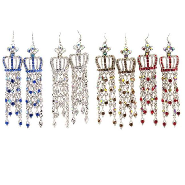 Bulk Buys Crown Chandelier Earrings - 4 Assorted Colors - Pack of 3