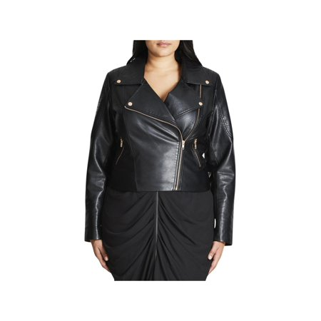 - City Chic Womens Plus Fall Faux Leather Motorcycle Jacket