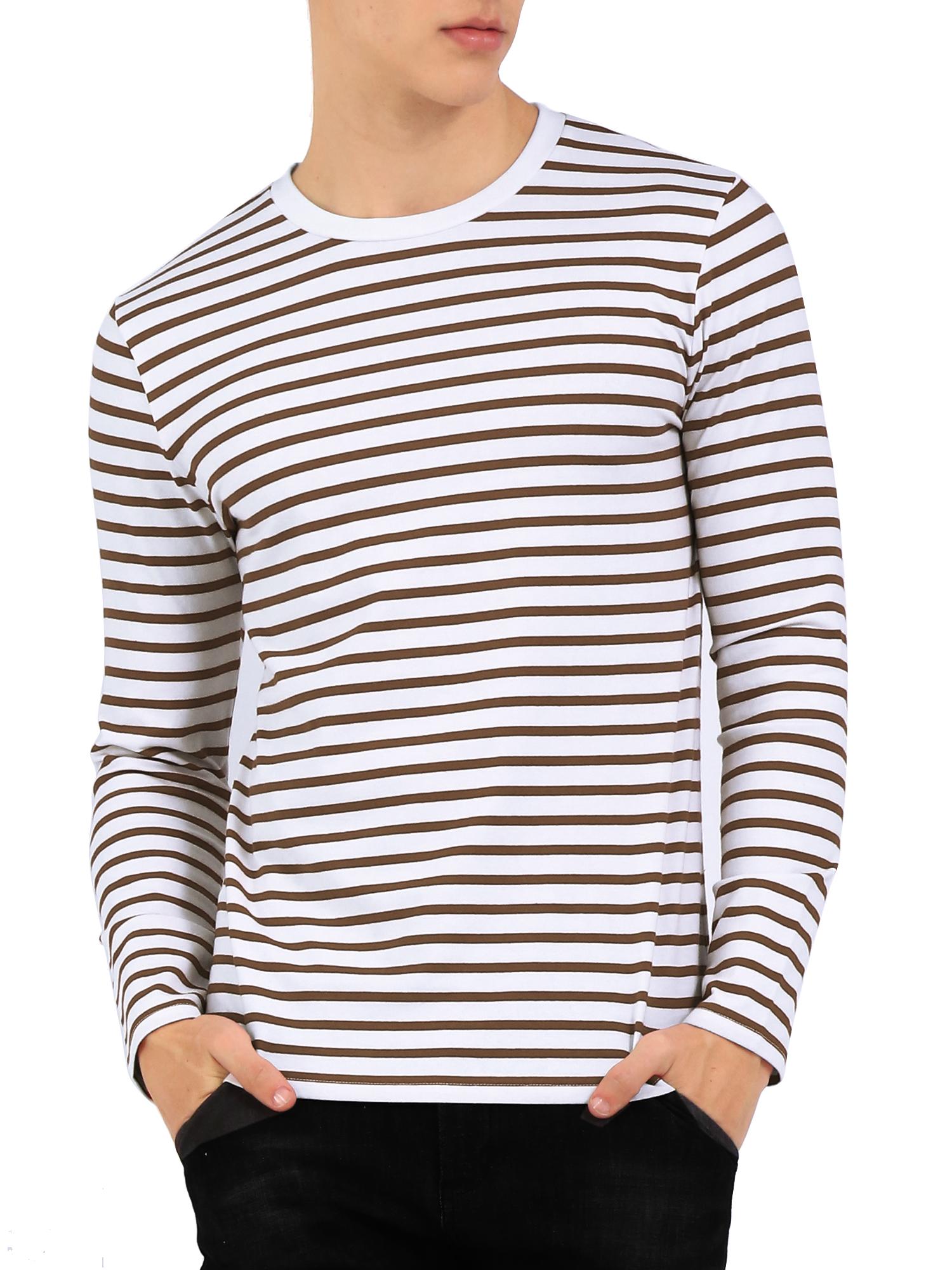 Men Crew Neck Long Sleeves Striped T-shirt Coffee/White